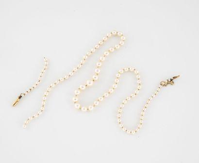 Collier de perles de culture blanche en chute....