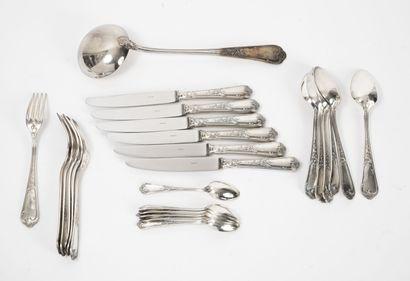 ERCUIS Partie de ménagère en métal argenté, modèle rocaille, comprenant :  - six...