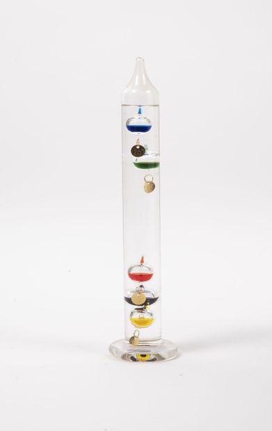 Thermomètre de Galilée à tube en verre incolore...