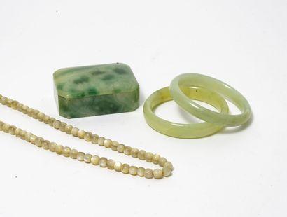 Lot de deux bracelets joncs en jadéïte, petite...