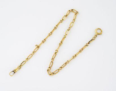 Chaîne de montre en or jaune (750) à maille...