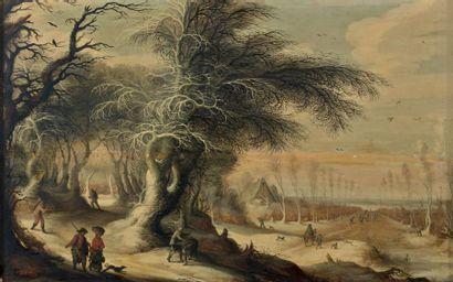 Gysbrecht LEYTENS (Anvers vers 1586 - entre 1643 et 1656) Paysage d'hiver avec des...