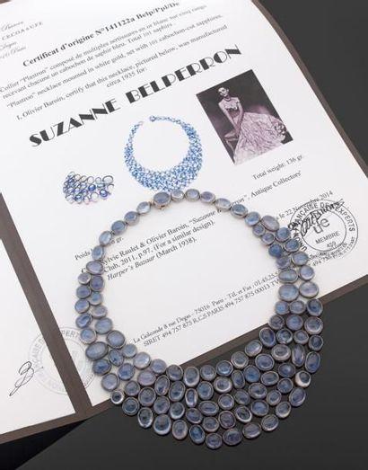Suzanne BELPERRON (1900-1983) PARURE Collier & Bracelet Bracelet large et articulé...