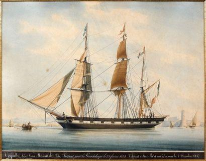 François ROUX (1811 - 1882) Le bateau «Coquette», Capitaine Victor Madaille fils...