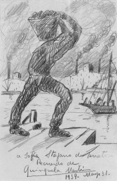 """Benito QUINQUELA MARTIN (1890-1977) """"Docker sur la Bocca"""". Dessin au crayon signé..."""