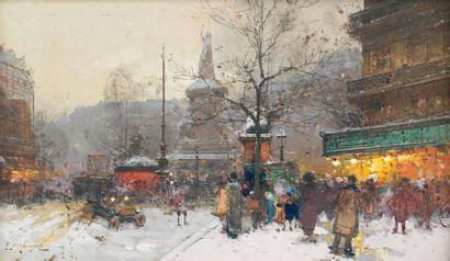 """Eugène GALIEN-LALOUE (1854-1941) """"La place de la République sous la neige"""". Gouache..."""