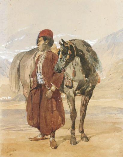 """Alfred de DREUX (1810-1860) """"Jeune page oriental tenant un cheval"""". Aquarelle, gomme..."""