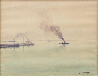 """Albert Marquet (1875-1947) """"Vapeur à Boulogne"""". Aquarelle signée en bas à droite..."""