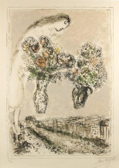"Marc CHAGALL (1887-1985) Marc CHAGALL (1887-1985) ""L'arc de triomphe"". (Sorlier 840)...."