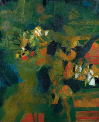 Sayed Haider RAZA (né en 1922) Green Landscape, 1965. Huile sur toile, signée et...