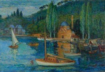 Ibrahim ÇALLI (1882-1960) Bateaux de plaisance à Bebek, Istanbul. Huile sur toile...