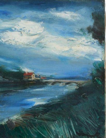Maurice de Vlaminck (1876-1958) Paysage avec pont. Huile sur toile. Signée en bas...