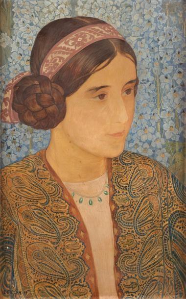 Ernest Bieler (1863-1948) Portrait de Louise Dieterlen, 1911. Tempera sur carton....