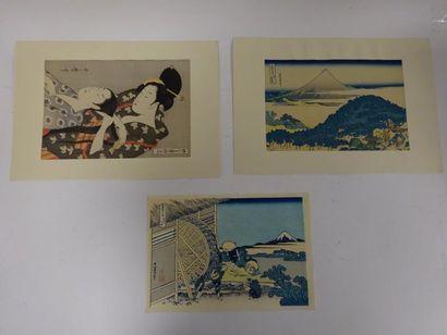 Trois estampes japonaises, retirages sur...