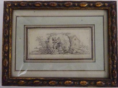 Ecole du XVIIIème siècle  Putto à l'autel...