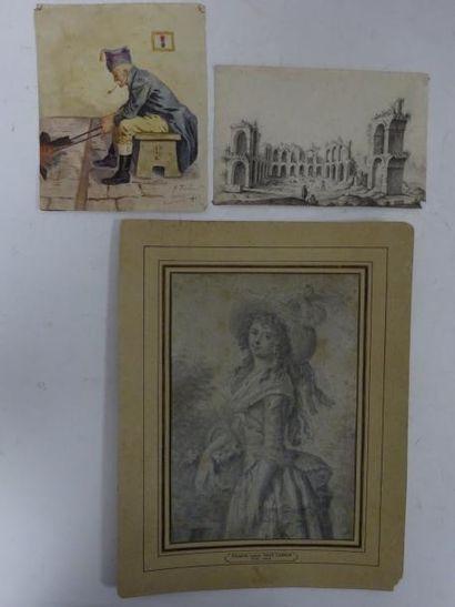 Trois dessins :  - Fantaisie de ruines animées....
