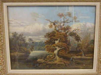 Ecole du XIXème siècle  Paysage lacustre...