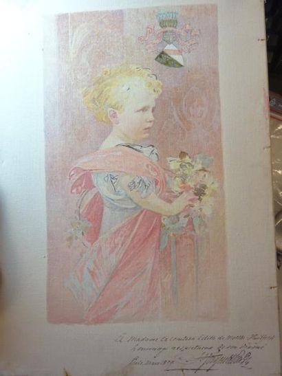 Portrait d'une petite fille aux fleurs, sous...
