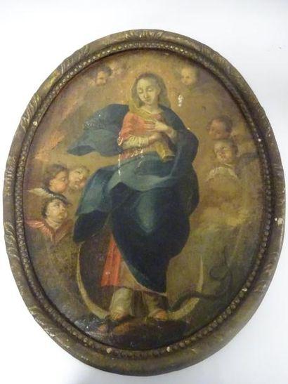 Ecole espagnole du XVIIIème siècle  La Vierge...