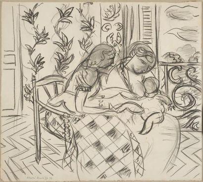 Henri MATISSE (1869-1954) Deux femmes et un enfant dans un intérieur, fenêtre ouverte,...