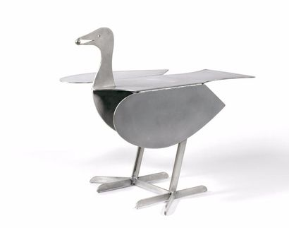 François Xavier LALANNE (1927-2008) Table basse Oiseau d'argent, circa 1990. En aluminium...