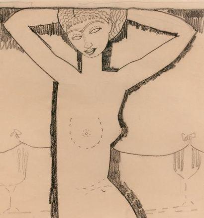 Amadeo MODIGLIANI (1884-1920) Caryatide, 1910-1911. Dessin au crayon gras sur papier....