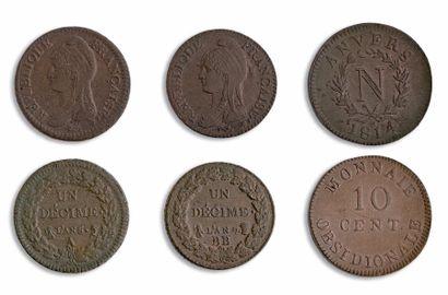 Directoire (1795-1799): Décime: 2 exemplaires....