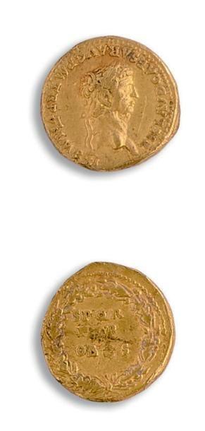 Auréus. 7,79 g. Lyon. Sa tête laurée à gauche....