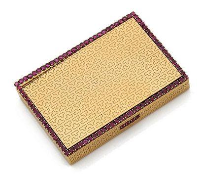 Poudrier en or jaune (750) de forme rectangulaire...