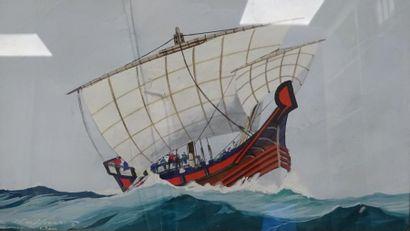 Léon HAFFNER (1881-1972)  Le vaisseau de Saint Paul.  Gouache sur papier.  Signée...