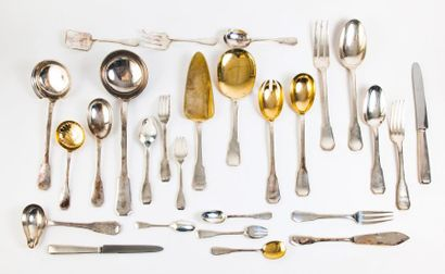 Ménagère en argent (950) blanc et doré, à...