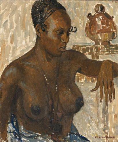 Fernand LANTOINE (1876/78-c.1955) Fatoumata. Huile sur toile. Signée en bas à droite....