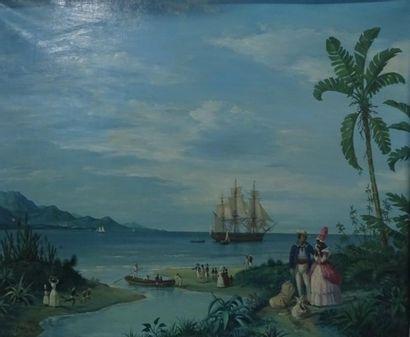 Gustave Louis Michel ALAUX (1887-1965)  Les Adieux d'une Créole.  Huile sur toile....