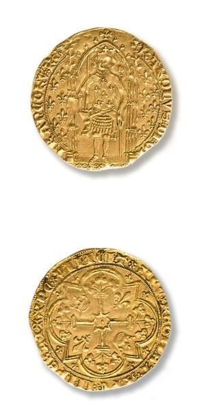 Charles V (1364-1380) Franc à pied. 2,5 g....