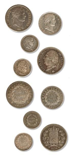 Lot de 45 monnaies en argent du Consulat...