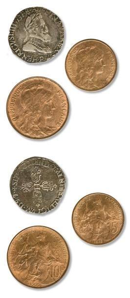Lot de 30 monnaies principalement en bronze...