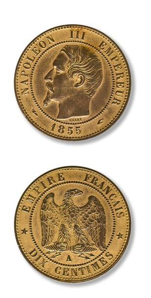 Lot de 38 pièces de 10 centimes Second Empire...