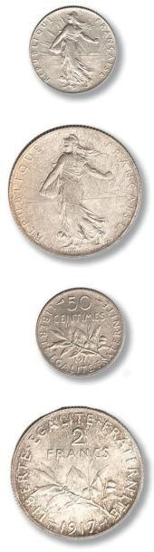 Lot de 62 monnaies en argent de la Deuxième...