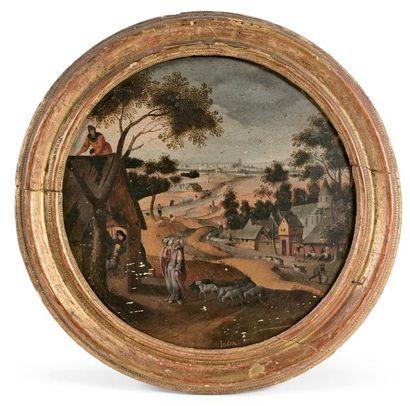 Abel GRIMMER (Anvers vers 1570- id. 1619) Le mois de Juin ou le Bon Pasteur. Huile...