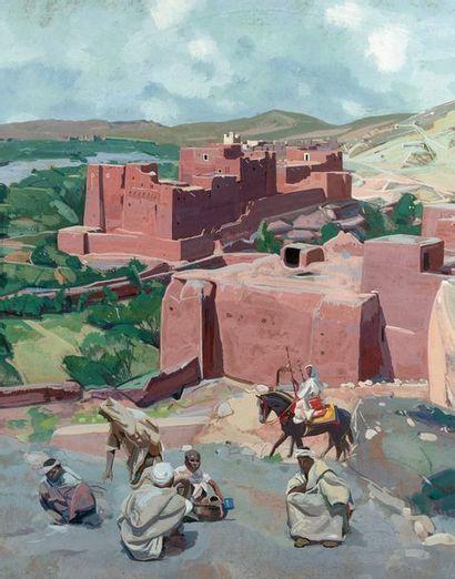 Jacques MAJORELLE (1886-1962) Kasbah de l'Atlas, 1949. Tempera. Signée, située et...