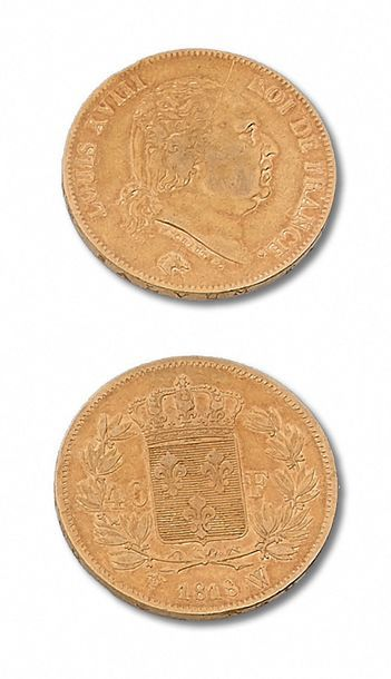 LOUIS XVIII (1815-1824) 40 francs or. 1818....