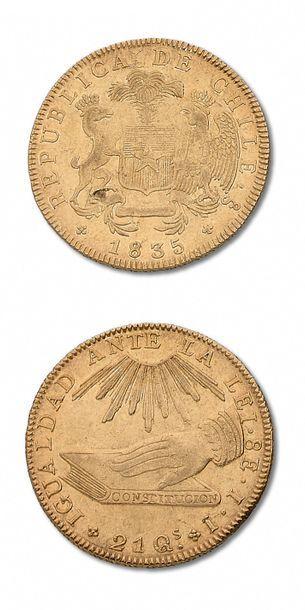 CHILI: 8 escudos. 1835. Santiago. Fr. 37....
