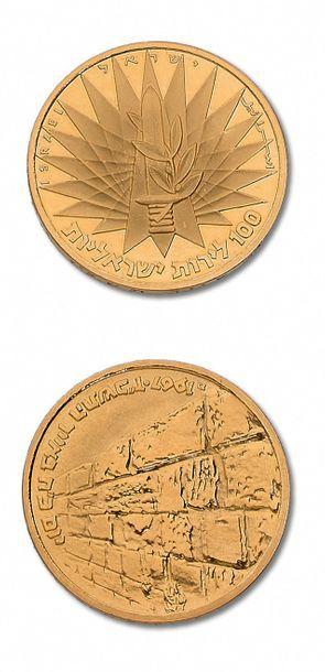 ISRAËL: 100 lirot commémoratives. 1967. Fr....