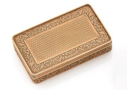 Petite boîte en or jaune (750) de forme rectangulaire,...