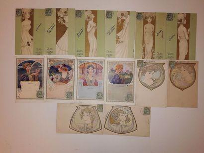 Ensemble de 14 cartes postales, avec timbres...