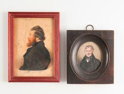 Ecole de la seconde moitié du XIXème siècle  Homme en buste à la redingote.  Miniature....