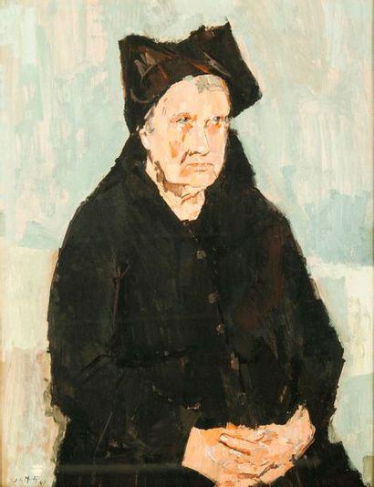 Jean LE MERDY (1928-2015)  Portrait d'une bretonne, 1963.  Gouache sur papier.  Signé...
