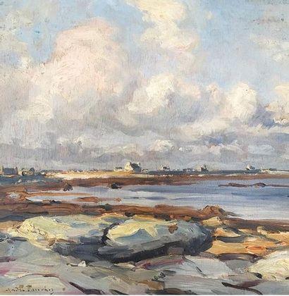 André DAUCHEZ (1870-1948) Marée basse en Bretagne. Huile sur bois. Signée en bas...