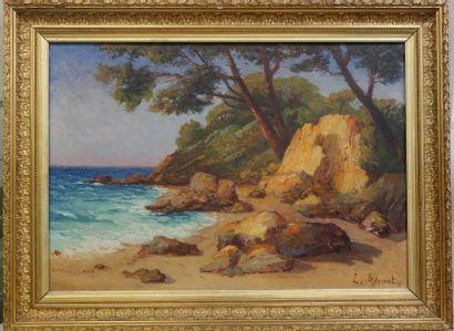 Laurent ADENOT (1848-1929)  Bord de mer.  Huile sur toile.  Signée en bas à droite....