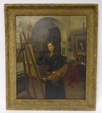 Ecole FRANCAISE de la fin du XIXème siècle  Femme peignant dans son atelier.  Huile...